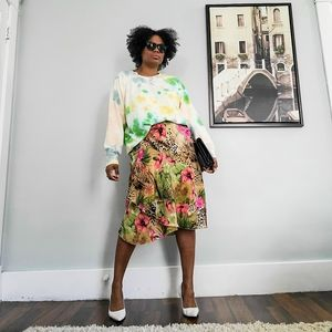 Vintage Floral Midi Skirt, M